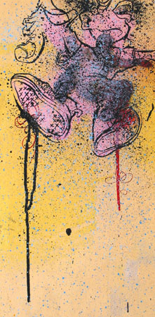 Out Of My Skin, 2003 Acrylic and spraypaint on wood 24 x 12 inches