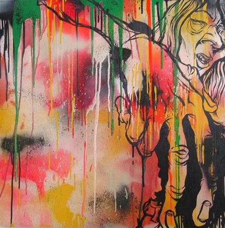 Erik Ellington, 2003 Acrylic and spraypaint on wood 30 x 30 inches