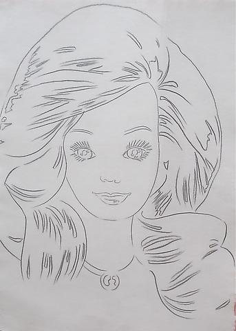 Andy Warhol Barbie, 1986 Graphite on HMP paper 31 5/8 x 24 inches