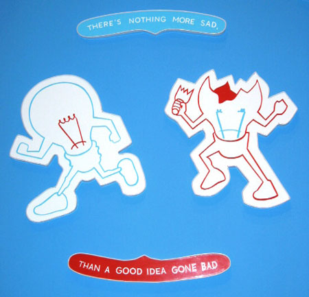 """Nothing More Sad"", 2003 Enamel on aluminum. 4 Parts (2) 4"" x 23"" / (2) 21"" x 18-1/2"""