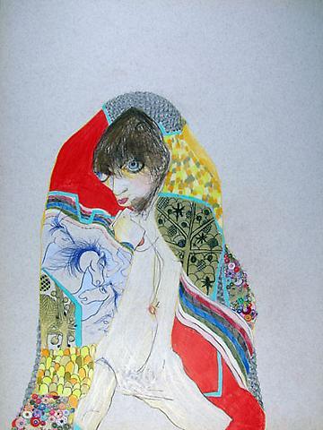 "SIMONE SHUBUCK Klimt Blanket / Bird Bush 2005 mixed media on paper 22"" x 17"""