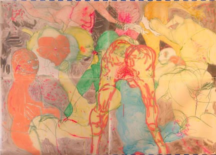 DASHA SHISHKIN Dedication To Life Among People, 2007 Acrylic and pastel on mylar 60 x 84 inches