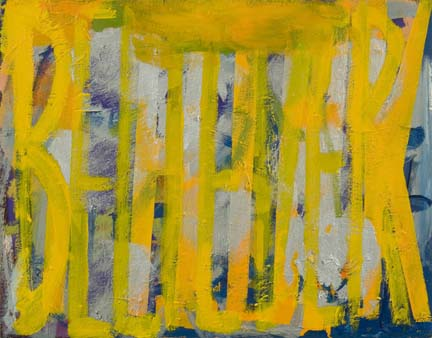 "DANA FRANKFORT BELIEVER (yellow, silver blue) 2006 Oil on canvas 11""x14"""