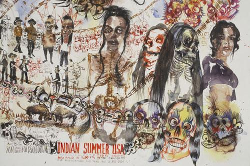 BRAD KAHLHAMER Indian Summer USA 2006 watercolor  and ink on paper 45 x 60 inches photo courtesy of Deitch Projects