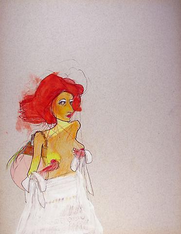 "SIMONE SHUBUCK Pensive (Chanel Dress) 2005 mixed media on paper 22"" x 17"""