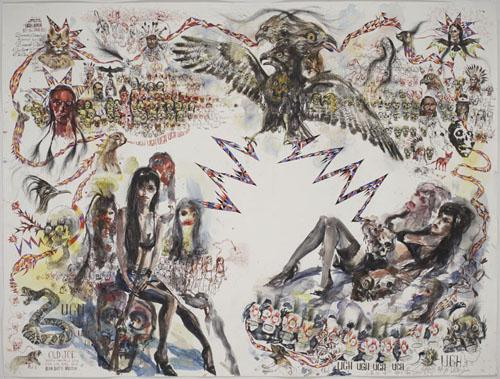 BRAD KAHLHAMER Old Joe 2006 watercolor  and ink on paper 62 x 82 inches photo courtesy of Deitch Projects