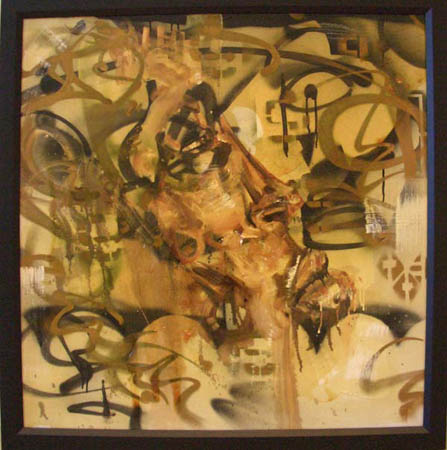 """Upski"" 2003 Oil, spray paint, polyurethane, and insects on canvas 39 1/2 x 39 1/2 inches framed"