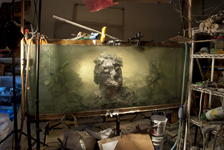 Kim Keever - Studio View of Eroded Man 20e