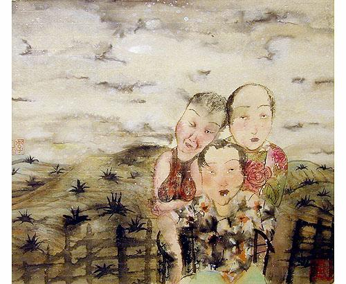 Three sisters / Landscape in Tibet 2000 ink on paper 38 x 44 cm