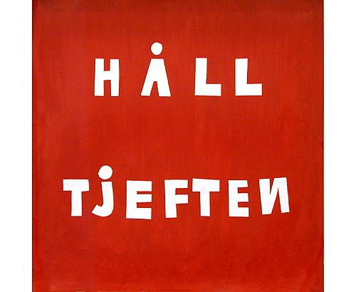Håll tjeften 1999 acrylic and paper on canvas 52 x 53 cm