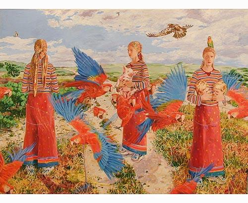 De tre kvinnorna 2001 oil on canvas 208 x 292  cm