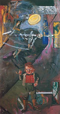 Vittnet 1985 oil on canvas 160 x 85 cm