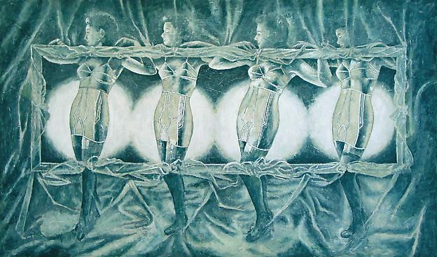 Korsettdans 2006 mixed media 122 x 190 cm