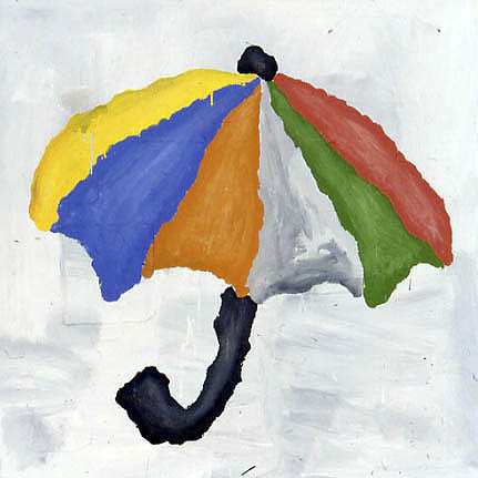 Umbrella (Colored)  1998  acrylic & fabric collage on canvas 152.5 x 152.5 cm