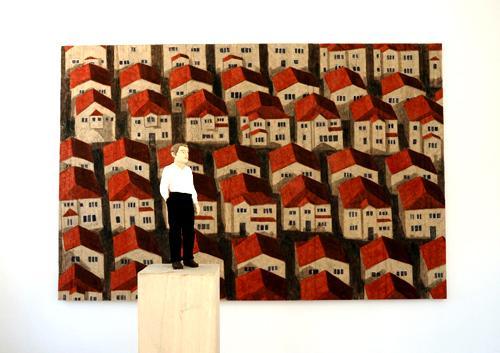 Man och relief (Hus) 2007 wawa wood 177 cm / 200 x 300 cm