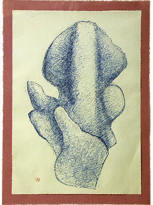 Blått korallharem IV 1978-79 ink drawing 32 x 23 cm