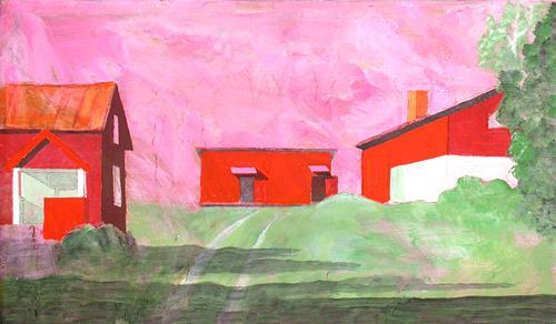 Röda hus 2005 oil on panel 31 x 54 cm