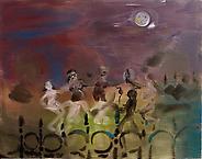 Behind the railings under a full moon 2010 acrylic on canvas 100 x 140 cm