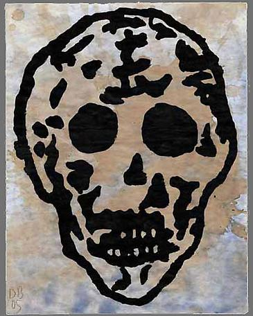 Untitled (Skull) 2005  gouache and tea on paper  35.5 x 28 cm