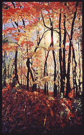 Fall leaves, Hudson River 2004 oil on linen 183 x 122 cm