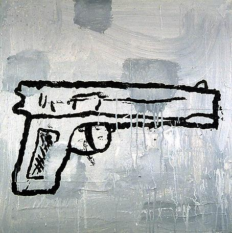Gun #1 1997  acrylic & fabric collage on canvas 61 x 61 cm