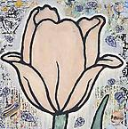Tulip  2007  gesso, flashe & paper collageon paper  101.5 x 101.5 cm