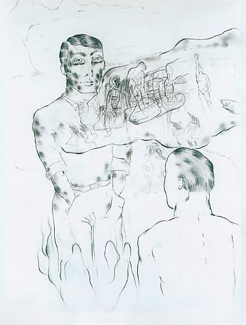 Virgilio Pinera writes through me for some dark moments 1994 drawing on paper 192 x 147 cm