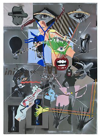 På första dagen 1985 spraypaint or screenprint and tempera on canvas 183 x 130 cm