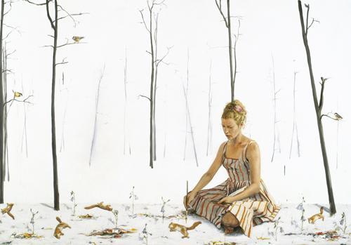 Skog, teckna, tecknad skog 2008 oil on canvas 210 x 300 cm