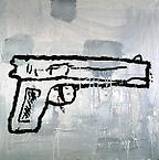 Gun #1 1997  acrylic & fabric collage on canvas 61 x 61 cm