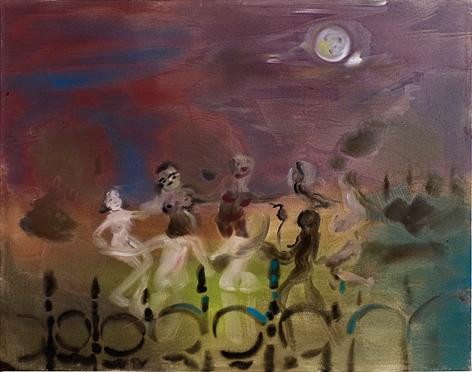 Behind the railings under a full moon 2010 acrylic on canvas 100 x 140 cm