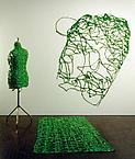 Posing  1991 painting installation acrylic on canvas 240 x 300 cm mixed media 170 x 50 x 30 cm