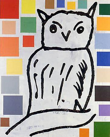 Abstract Painting with Bird (Owl) #7 1992  acrylic & fabric collage on canvas  203 x 162.5 cm