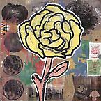 Yellow Flower 2005  acrylic & fabric collage on jute  203 x 203 cm