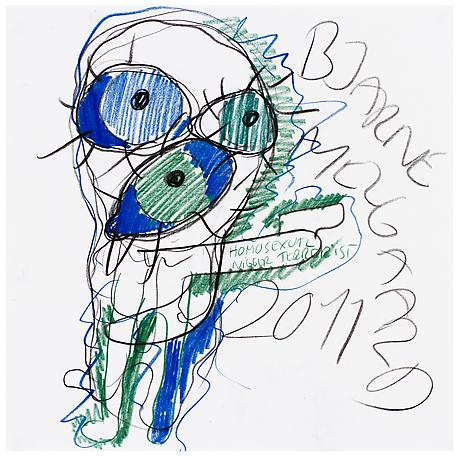 Bjarne Melgaard Untitled 2011 pen and colour pen on paper 41 x 41 cm