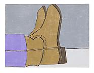 Boots  2011 pastel stick on wood 30 x 40 cm