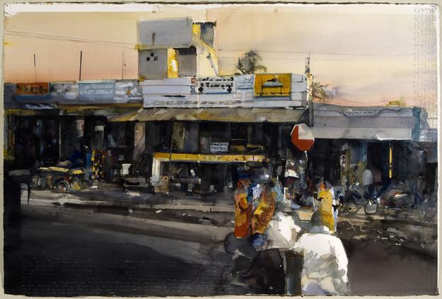 Bangalore 2006 watercolor on paper 100 x 150 cm