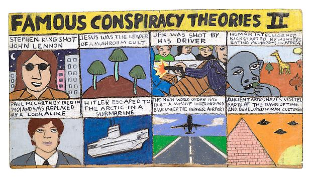 Famous conspiracy theories 2 2010 pastel on wood 30 x 55 cm