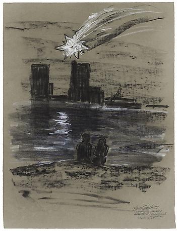 Hans Wigert I väntan på den stora kometen charcoal on paper 81 x 67 cm