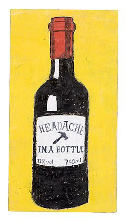 Headache in a bottle 2011 pastel stick on wood 35 x 18 cm
