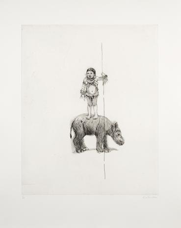 Drypoint Barn med glapp, noshörningsglapp 2008 67 x 53 cm Ed. 25  SEK 10 000