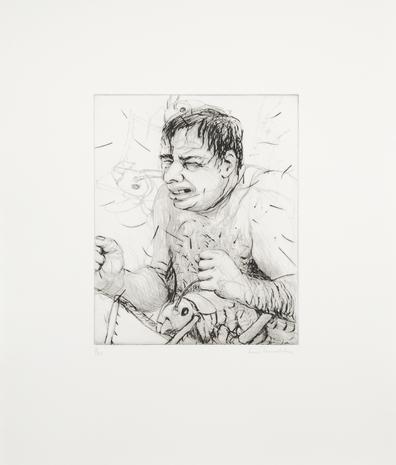 Drypoint Mannen med baggarna inuti 2008 46 x 39 cm Ed. 25  SEK 9 000