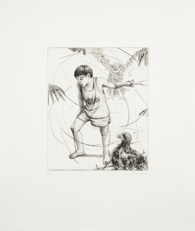Drypoint Pojken med örnen 2008 46 x 39 cm Ed. 25  SEK 9 000