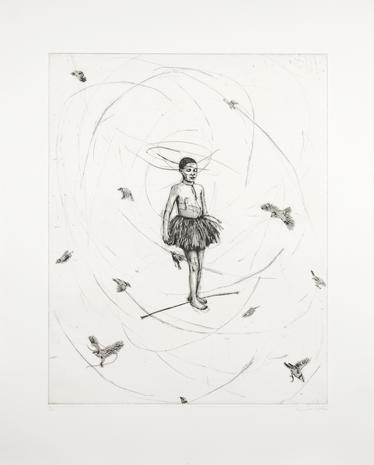 Drypoint Ballerina på livslina 2008 67 x 53 cm Ed. 25  SEK 10 000