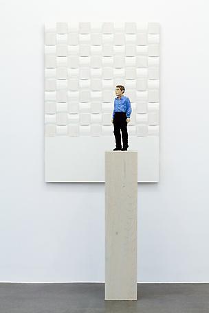 Man with white panel 2010 painted wawa wood