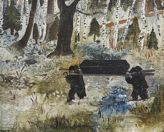 En spelmans jordafärd 1924 oil on canvas 22 x 28 cm