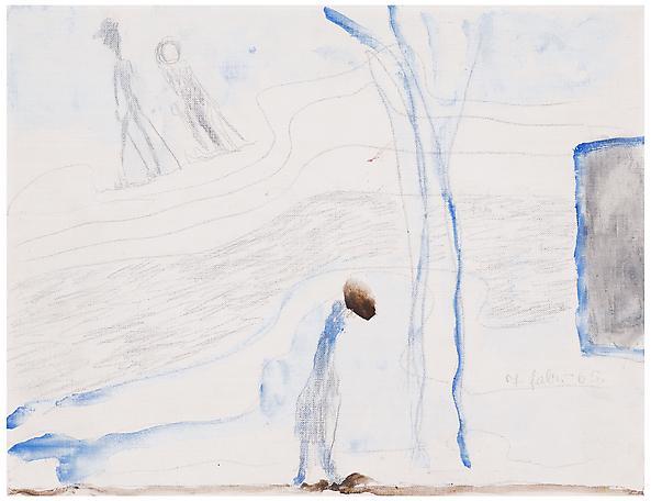 Ensam i snön 1965 oil on board 27 x 35 cm
