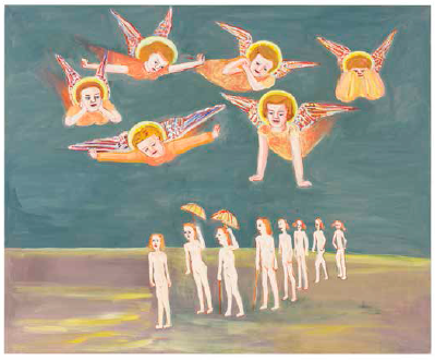Parasollpromenad (Giottos änglar), 2009 oil and tempera on canvas, 160 x 197 cm