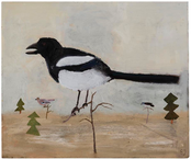 Stora fåglar i små träd 2013 oil on panel 46 x 55 cm