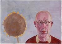 Järn och magnesium. Jag och en gammal solros, en solros och ett gammalt jag 2013 oil on panel 49 x 69 cm